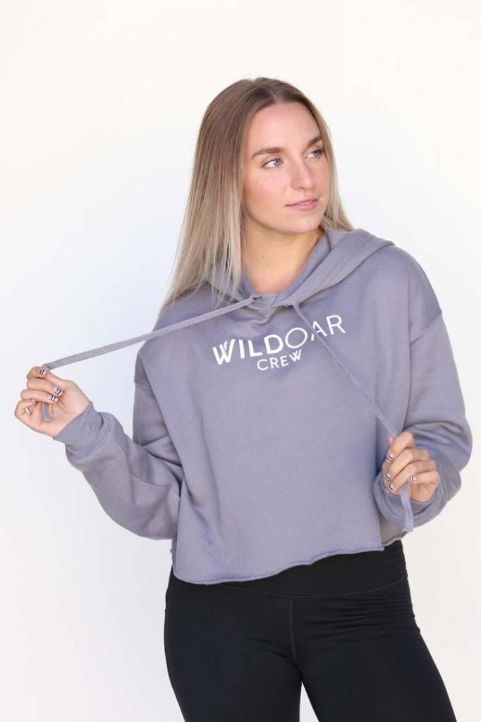 Wild Women's Grey Crop Hoodie