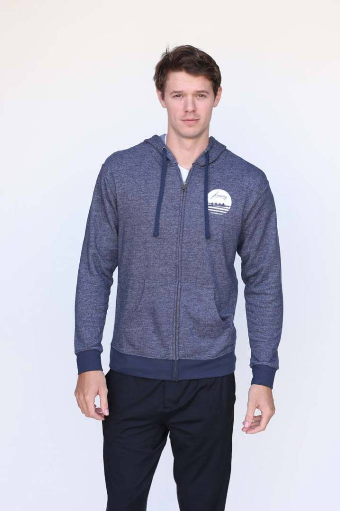 Men's Full Zip Heather Blue Hoodie
