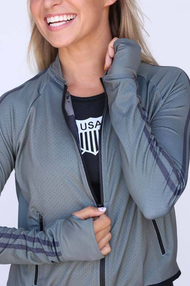 USRowing  Women's Mesh Crop Jacket Green