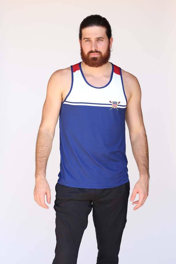 USR Men's Performance Tank Crest/Stripe