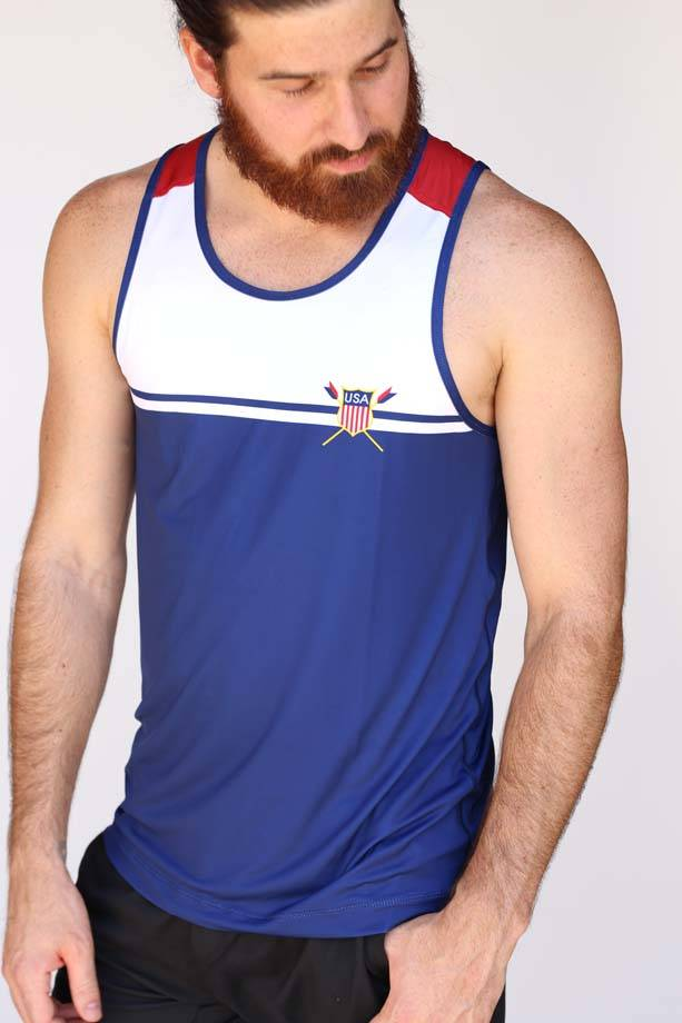 USR Men's Performance Singlet Crest/Stripe
