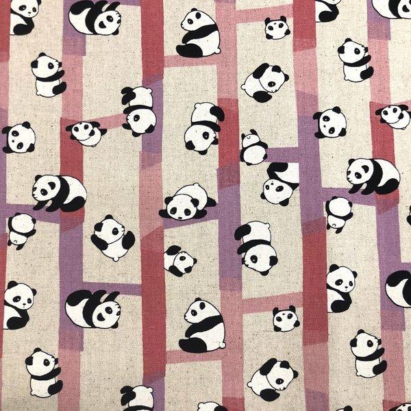 Japanese Linen / Panda Bear / Pink / JLF-A-01