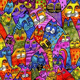 Clothworks - LAUREL BURCH - Feline Frolic - Y2798-55M