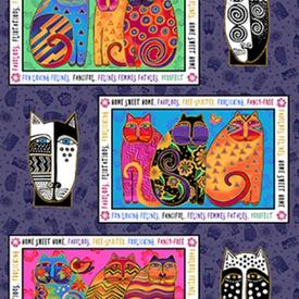 Clothworks - LAUREL BURCH - Feline Frolic -Y2795-27M Placemat Panel