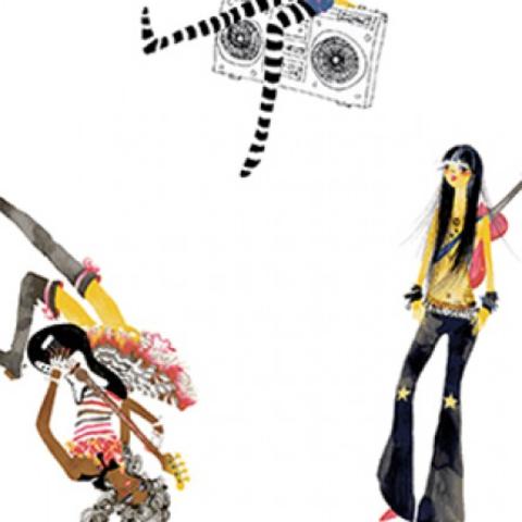 Clothworks - Groovy Girls - Girls Y2611-1 WHITE