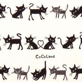 Kokka - Linen / CocoLand Small Cats / White