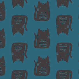 Linen / Sarah Golden / Maker / Teal Cats / ALN-8454-B