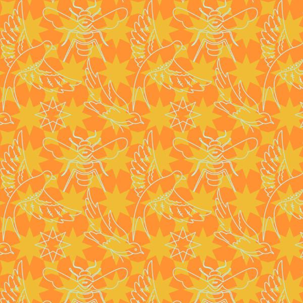 Alison Glass - Seventy Six / 76 / Flourish / Orance / 8446-O
