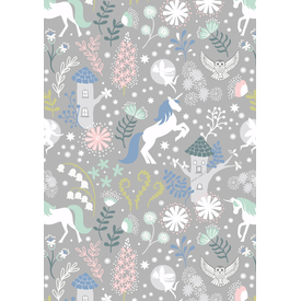 Lewis & Irene - A308.3 / Unicorn forest / grey / Glow in the dark