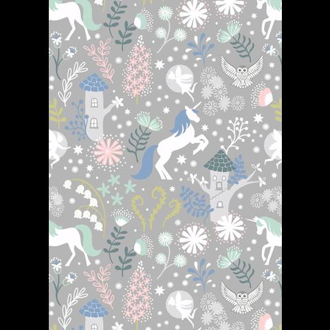 Lewis & Irene - A308.3 / Unicorn forest / grey / Glow in the dark