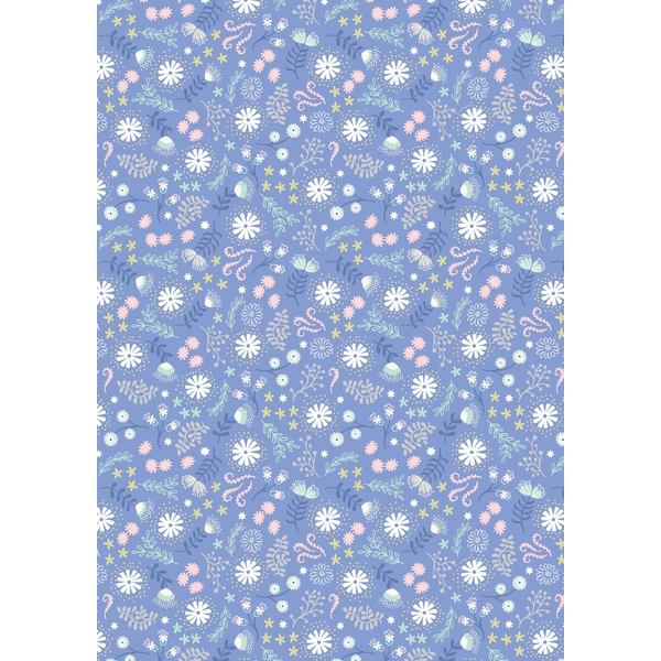 Lewis & Irene - A310.3 / Magical flowers / dusky blue /  Glow in the dark