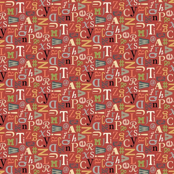 Northcott - Letterpress / Letter Jumble / Red / 21891-24