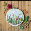 Embroidery Hoop Kit - Flowers / Green Fields
