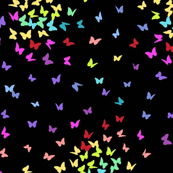 Andover - Rainbow Sprinkles / Butterfly / Black / A-9425-K