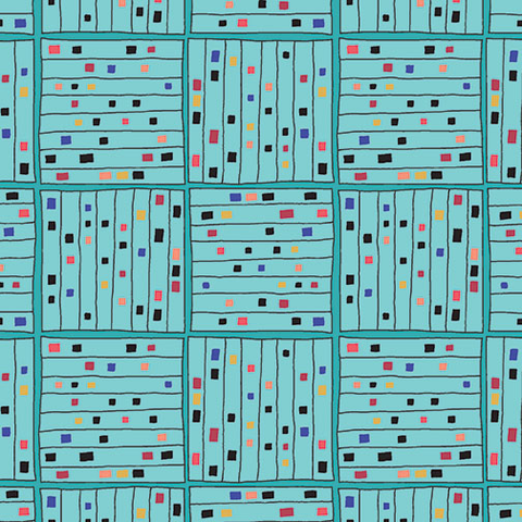 Contempo - Printology / Gridwork / Aqua / 7535-24