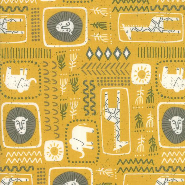 Moda Fabrics - Safari / Animal Blocks / Yellow / 20644-18