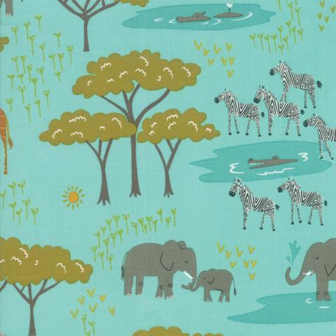 Moda Fabrics - Safari / Safari Life / Teal / 20643-20