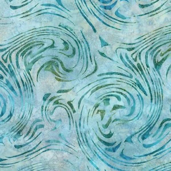 Robert Kaufman - Batik / Aqua Spa 3 / Swirls / 18654-246 Water