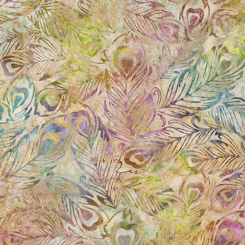 Robert Kaufman - Batik / Fancy Feathers 3 / Peacock / 19025-14 Natural