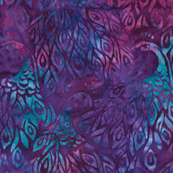 Robert Kaufman - Batik / Fancy Feathers 3 / Bird / 19027- 22 Violet