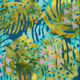 Banyan Batiks - Tapa Cloth Leaf / Metallic / 80253-62 Green&Blue
