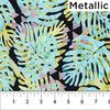 Banyan Batiks - Tapa Cloth Leaf / Metallic / 80253-60 Seafoam&Yellow