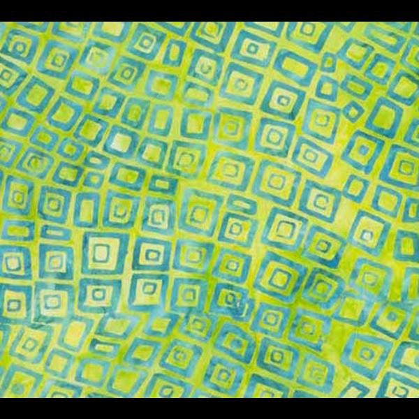 Banyan Batiks - Visual Sounds / Lime Green Squares in Squares / 80027-62