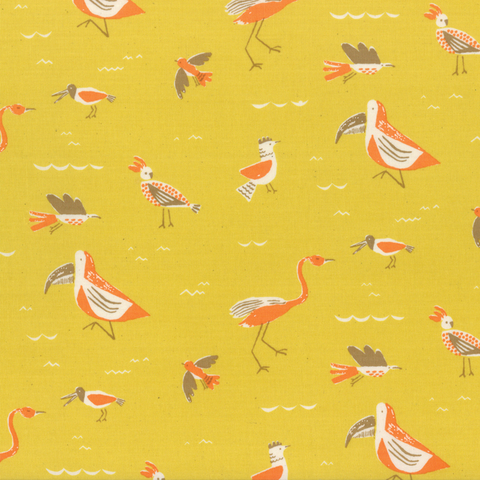 Moda Fabrics - Yucatan / Birds / Yellow / 16711-17