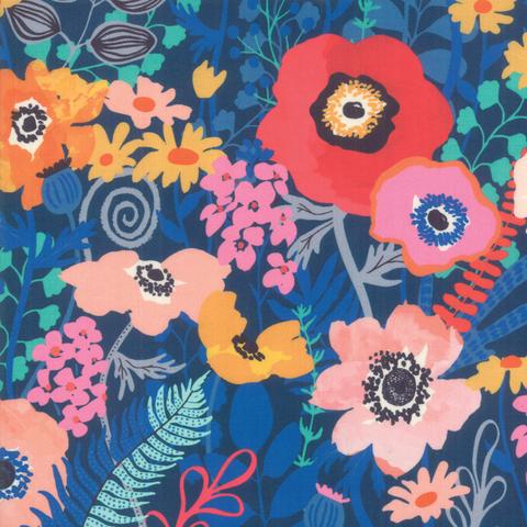 Moda Fabrics - Botanica / Large Flowers / Blue / 11840-15