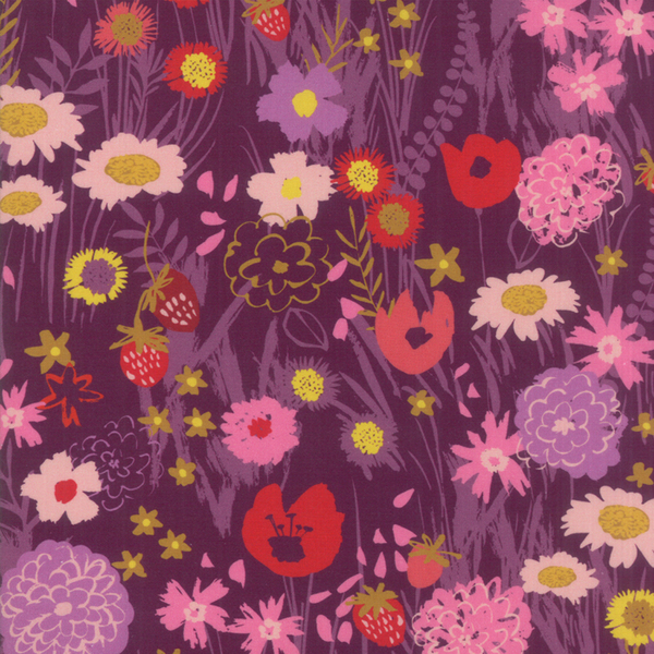 Moda Fabrics - Growing Beautiful / Wild Flowers / Plum / 11830-15