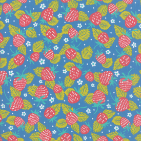 Moda Fabrics - Growing Beautiful / Strawberries / Blue / 11832-16