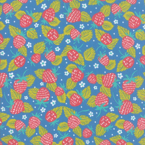 Moda Fabrics - Growing Beautiful / Strawberries / Blue / 11832-16