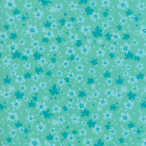 Moda Fabrics - Growing Beautiful / Little Flowers / Turquoise / 11834-12