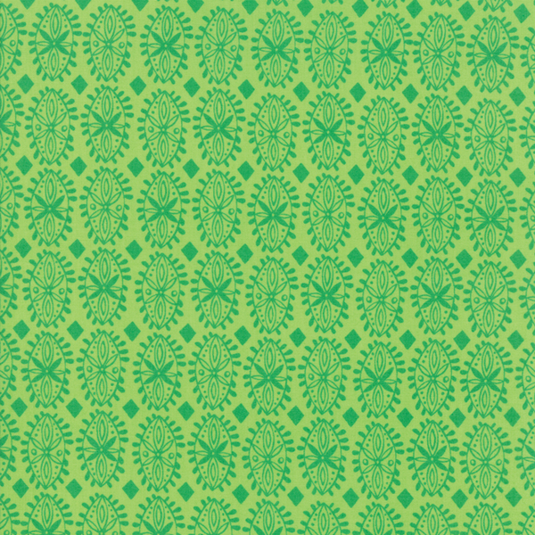 Moda Fabrics - Painted Garden / Flower Grid / Green / 11816-18