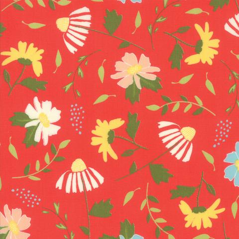 Moda Fabrics - Clover Hollow / Large Flowers / Red / 37550-14