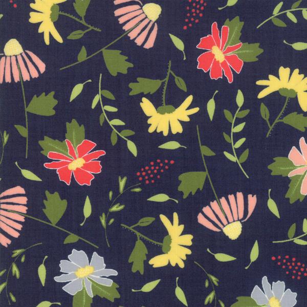 Moda Fabrics - Clover Hollow / Large Flowers / Navy / 37550-18