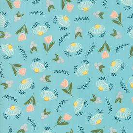 Moda Fabrics - Clover Hollow / Small Flowers / Blue / 37551-18