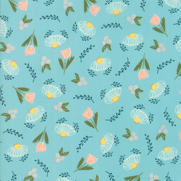 Moda Fabrics - Clover Hollow / Small Flowers / Blue / 37551-18