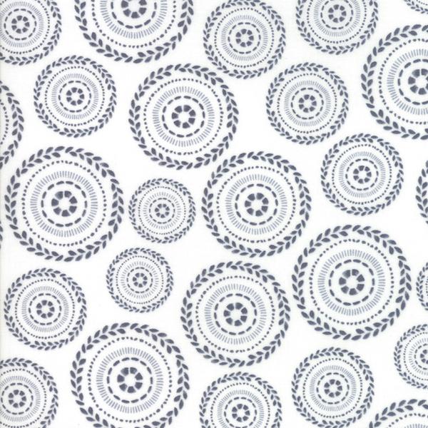 Moda Fabrics - Harmony / Flower Circles / Grey on White / 5692-26