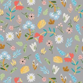 Windham - Ellie the Elephant / Flowers on Grey / 51358-2