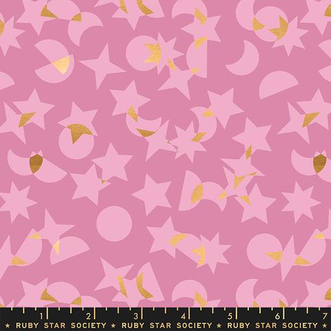 Ruby Star / Rashida Coleman Hale / Stellar / Metallic Stars and Moons / Pink / RS1008 11M