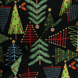 Alexander Henry - Holiday Pine Trees / Black (AH-26)