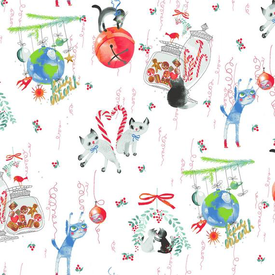 Clothworks - Purrfect Christmas / Christmas Toile Kitties / Y2713-01