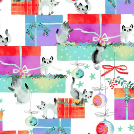 Clothworks - Purrfect Christmas / Kitten Presents / Y2714-1