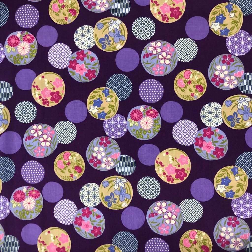 Japanese Fabric Balls Multi Purple Tjb05 A Bay Quilts