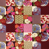 Japanese Fabric - Metallic Squares / Red / TJS01 (A)