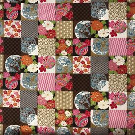 Japanese Fabric - Metallic Squares / Brown / TJS02 (A)