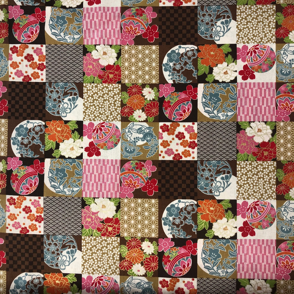 Japanese Fabric - Metallic Squares / Brown / TJS02 (A)