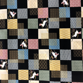 Japanese Fabric - Metallic Bunny Squares / Black / TJS03 (A)