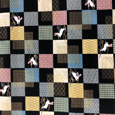 Japanese Fabric - Metallic Bunny Squares / Black / TJS03 (A)